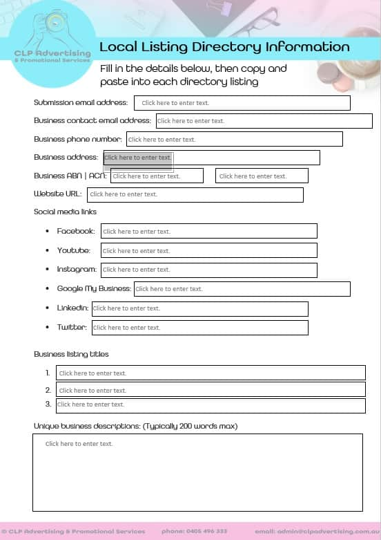 CLP Advertising | Local Listing Directory Information Form (sample)